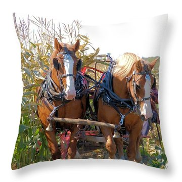 Coming Through The Corn Throw Pillow by Valerie Kirkwood