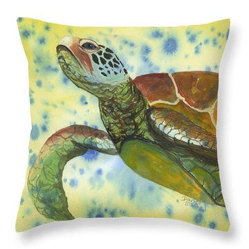 Throw Pillow featuring the painting Coming Up For Air by Darice Machel McGuire