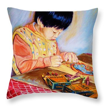 Commission Portraits Your Child Throw Pillow by Carole Spandau