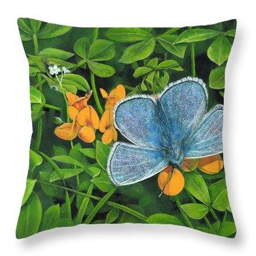Common Blue On Bird's-foot Trefoil Throw Pillow