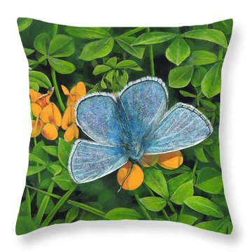Common Blue On Bird's-foot Trefoil Throw Pillow