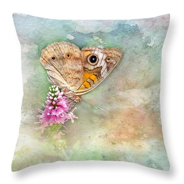 Throw Pillow featuring the photograph Common Buckeye by Betty LaRue