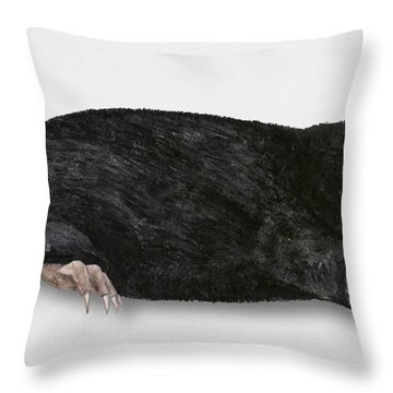 Throw Pillow featuring the painting Common Mole Talpa Europaea by Urft Valley Art