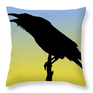 Common Raven Silhouette At Sunrise Throw Pillow