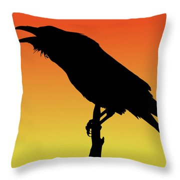 Common Raven Silhouette At Sunset Throw Pillow