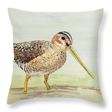 Common Snipe Wading Throw Pillow