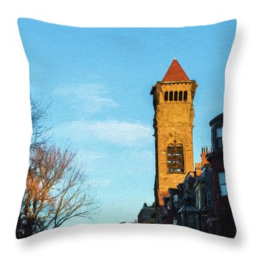 Commonwealth Avenue In Boston Throw Pillow