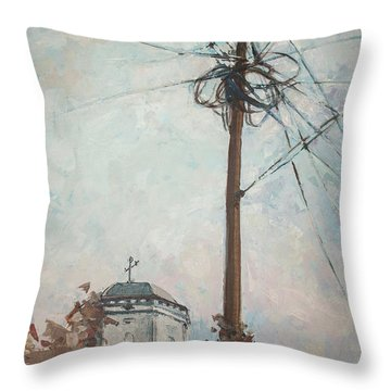 Throw Pillow featuring the painting Communication by Olimpia - Hinamatsuri Barbu