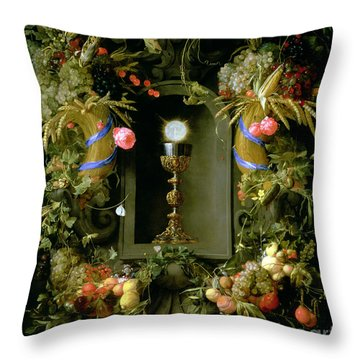 Communion Cup And Host Encircled With A Garland Of Fruit Throw Pillow