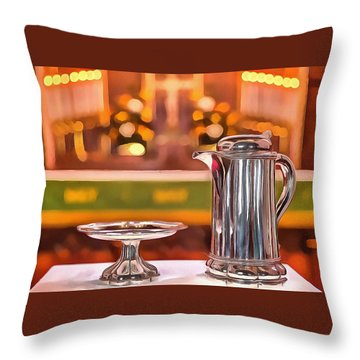 Throw Pillow featuring the photograph Communion Silver 1800 by Jim Proctor