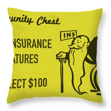 Community Chest Vintage Monopoly Board Game Life Insurance Matures Throw Pillow