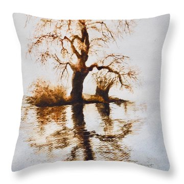 Throw Pillow featuring the painting Como Lake Reflections by Sher Nasser