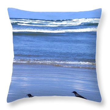 Companion Crows Throw Pillow