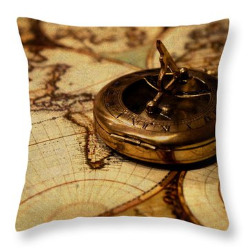 Compass On Vintage Old Map Of The World Throw Pillow