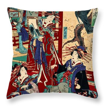 Competing Brothels 1876 Throw Pillow by Padre Art