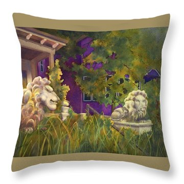 Complaining Lions Throw Pillow