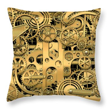Complexity And Complications - Clockwork Gold Throw Pillow