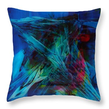 Composition In Blue Throw Pillow by Albert Kutzelnig