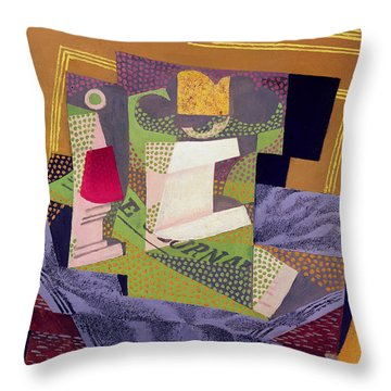 Composition On A Table Throw Pillow by Juan Gris