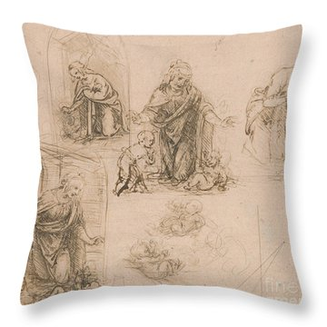 Compositional Sketches For The Virgin Adoring The Christ Child Throw Pillow