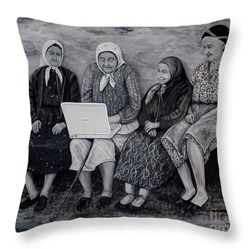 Throw Pillow featuring the painting Computer Class by Judy Kirouac