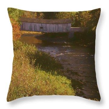 Comstock Covered Bridge Throw Pillow