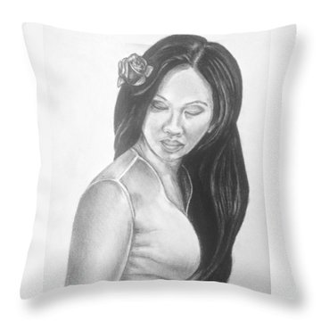 Long Hair Asian Lady With Rose In Sorrow Charcoal Drawing  Throw Pillow