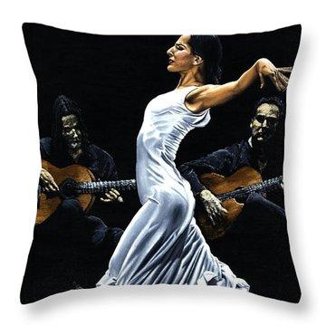 Concentracion Del Funcionamiento Del Flamenco Throw Pillow by Richard Young