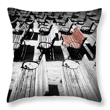 Concert Benches Throw Pillow by Perry Webster