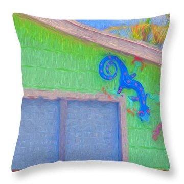 Conch Key Lizard Wall Art Throw Pillow