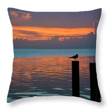 Conch Key Sunset Bird On Piling Throw Pillow