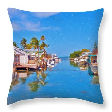 Conch Key Waterfront Living 3 Throw Pillow