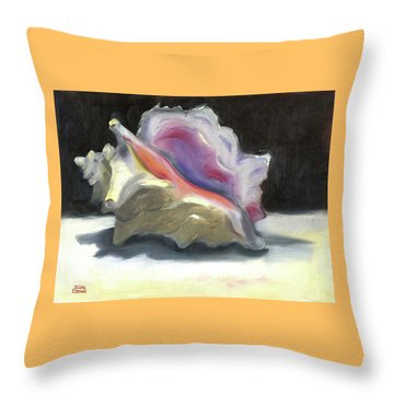 Throw Pillow featuring the painting Conch Shell by Susan Thomas