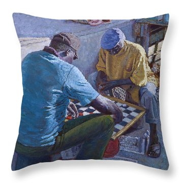Conch Stand Checker Mates Throw Pillow