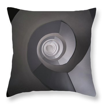 Throw Pillow featuring the photograph Concrete Abstract Spiral Staircase by Jaroslaw Blaminsky