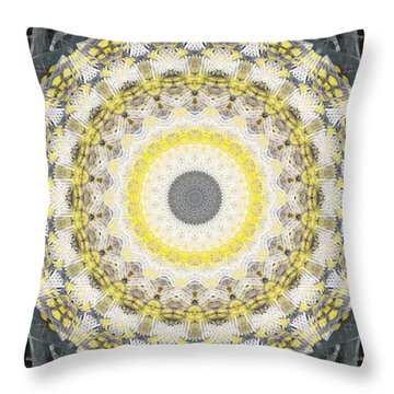 Concrete And Yellow Mandala- Abstract Art By Linda Woods Throw Pillow