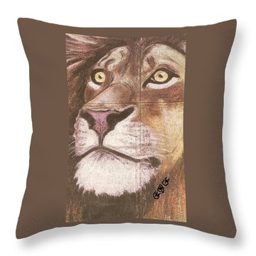 Concrete Lion Throw Pillow