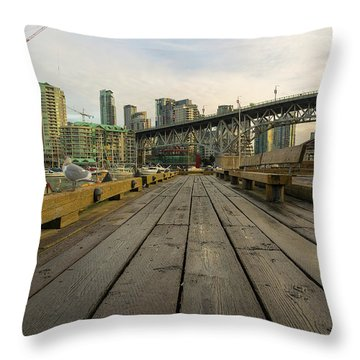 Condominium Buildings Along Granville Island Vancouver Bc Throw Pillow