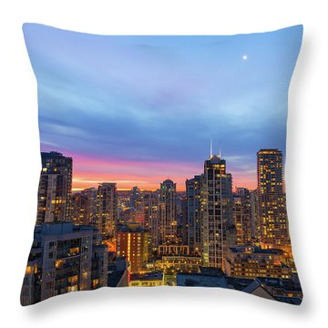Condominium Buildings In Downtown Vancouver Bc At Sunrise Throw Pillow