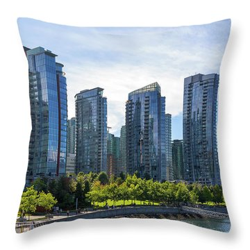 Condominium Waterfront Living In Vancouver Bc Throw Pillow by David Gn