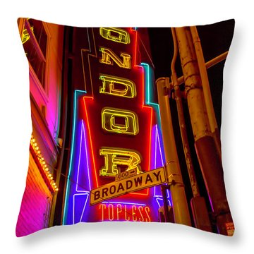 Condor Neon On Broadway Throw Pillow