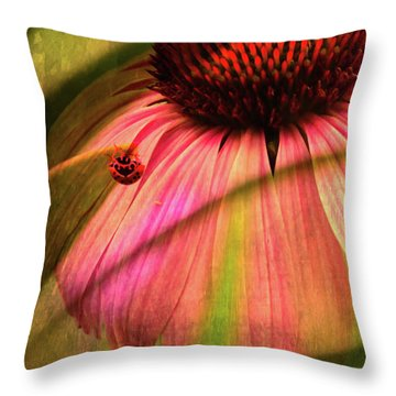 Cone Flower And The Ladybug Throw Pillow