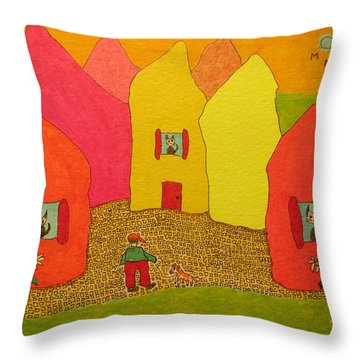 Cone-shaped Houses Man With Dog Throw Pillow