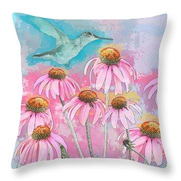 Coneflower Hummingbird Watercolor Throw Pillow