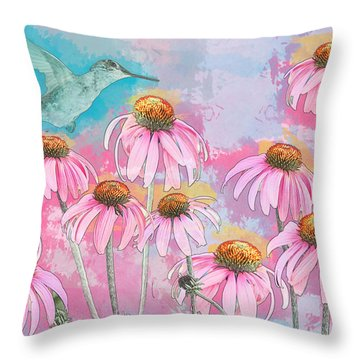 Coneflower Hummingbird Watercolor Throw Pillow by Patti Deters