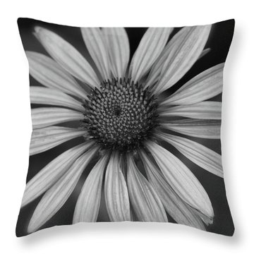 Coneflower In Black And White Throw Pillow