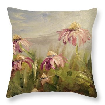 Throw Pillow featuring the painting Coneflowers by Donna Tuten