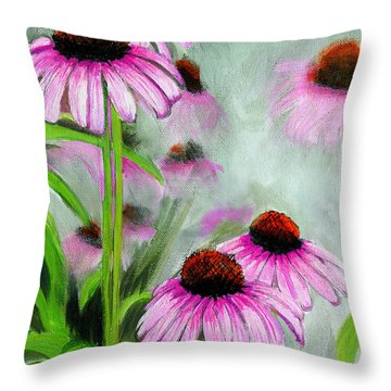 Coneflowers In The Mist Throw Pillow