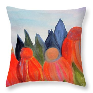 Throw Pillow featuring the painting Coneflowers by Sandy McIntire