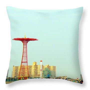Coney Island Amusement Park Throw Pillow